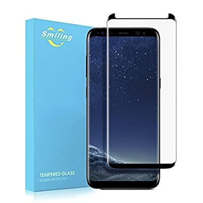Galaxy S8 Glass Screen Protector, Smiling [2 PACK] 3D Curved Touch Agility Crystal Clear Tempered Galss Screen Protectore for Samsung Galaxy S8 5.8inch (black)