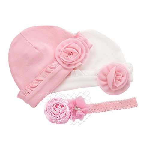 ERISO Baby Girl Cotton Pink Flower 2 Pack Hat with 1 Hairband (Pink Rose)