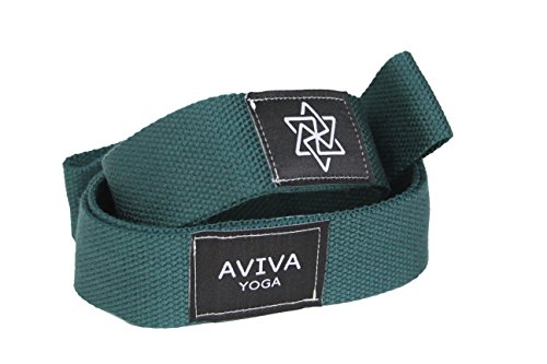 AVIVA YOGA Number 8 Straps - Set of 2 Premium Quality Props to Improve Your Range of Motion in Yoga, Dancing, Sports Conditioning / Training or Fitness Workouts (Pine Green, 19 inches)