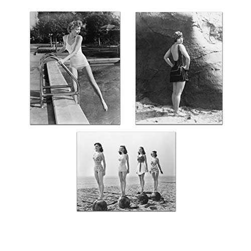 - Set of 3 Retro Swimwear Photographs - Vintage Black and White Photography - Vintage Restored Gallery Wall Prints 8 x 10 Unframed (Set of 3)