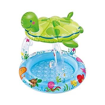 ღWawer❤ Piscina hinchable infantil con tobogán piscina sombrilla ...