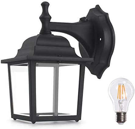 Dusk to Dawn Sensor Outdoor Wall Lights, Lamomo Wall Sconce Porch Light Fixture with E26 6W Led Light Bulb, UL Listed Anti-Rust Waterproof Black Lamp for Porch,Court-Yard Not Motion Solar Light Black