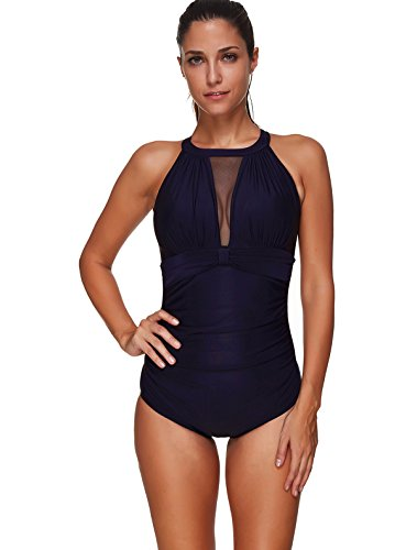 Century Star Womens Sexy One Piece Swimsuit Mesh V-Neckline Monokini Slimming Swimwear For Women Navy Blue - Swimsuit Custom Made Piece One