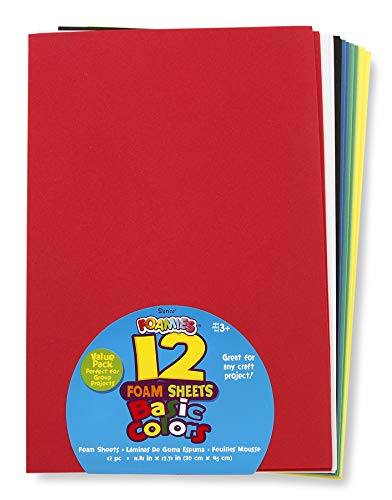 Darice Foam Sheets, 12 x 18 Inches, Assorted Primary Colors, Pack of 12