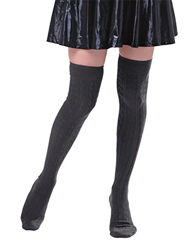 HDE Women's Stockings Solid Color Opaque Cable Knit Over The Knee Socks ()