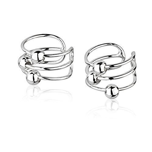 925 Sterling Silver Bar Bands w/Ball Beads No Pierce Ear Cuff Wrap Earrings, Set of Two (2) ()
