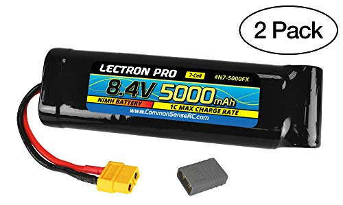 (2 Pack) Lectron Pro NiMH 8.4V 7-Cell 5000mAh Flat Pack with XT60 Connector + CSRC Adapter for XT60 Batteries to Popular RC Vehicles for 1/10 Scale Cars, Trucks, and Buggies 5000 Mah Nimh Flat