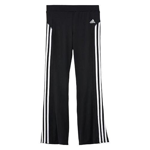 adidas Big Girls Yoga Pant Wwhite Stripes, Black, Small