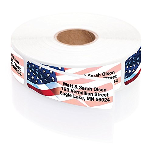 (Personalized Proudly American Rolled Address Labels with Elegant Plastic Dispenser)