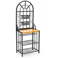 K&A Company Steel Rack Utility Hooks Black Bakers Storage And Shelving Kitchen Shelves adjustable butcher-block Rubber Wood Top