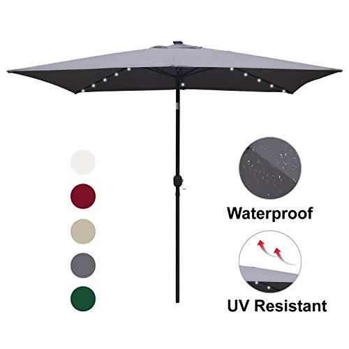 ABCCANOPY Rectangular Solar Powered Patio Umbrella Outdoor Umbrellas, Tilt and Crank for Patio Deck and Pool Market Table Umbrella with 26 LED Lights, 6.6 by 9.8 Ft (Patio Led Umbrella)