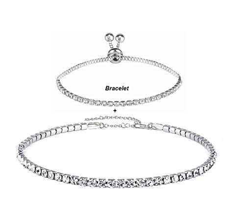 Eoumy 1 Row Clear Rhinestone Choker Necklace Adjustable Brass Chain Crystal Choker for Women Silver Tone with Bracelet