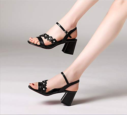 Zapatillas Rome Zapatos Thick Tacón Sandals Liangxie Mano Buckle Shoes With De Alto Hechas Nuevas Dedo Ms Lady Abierto Negro A Summer Wild Heels High Ultimate 1word Peeps Sandalias RxAvqZRw