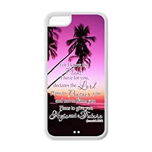 LJF phone case Bible Verse iPhone 5C Case Hard Plastic Bible Verse iPhone 5C Cover