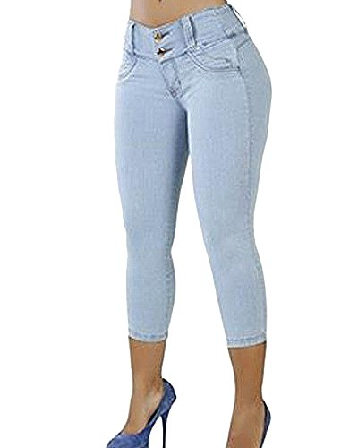 Alta Stretch A Casual Pantaloni Chiaro Jeans Fit Boyfriend Azzurro Slim Skinny Donna Vita nOq6wvxR