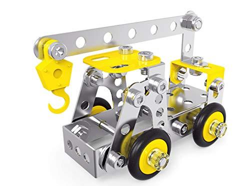 (Building Toy Set for Boys - Crane Building Block Set for Kids - Educational Construction Model - Sturdy Metallic Design - Stimulates Creativity, Engineering, Technology, Science)