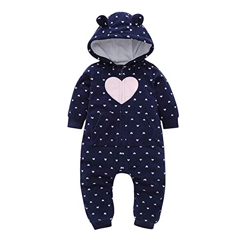 Sharemen Baby Boys Girls Thicker Grid Jumpsuit Hoodie Romper Outfit Bodysuit (6-9 Months, Dark Blue)