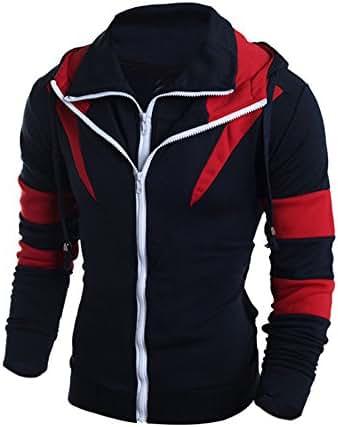 Men Sweatshirts Hoodies Full Zip Retro Long Sleeve Hoodie Hooded Tops Jacket Coat Outwear Drawstring Tunic