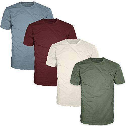 FSD Basic Plain Crew Neck Short Sleeve T-Shirts for Men (Value Pack of 4) (Multicolor (F) Pack, Medium)