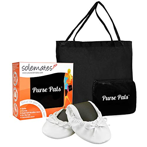 Solemates Purse Pal Foldable Bowed Ballet Flats w/Expandable Tote Bag Carrying Heels (Medium (7-8.5), White) by Solemates