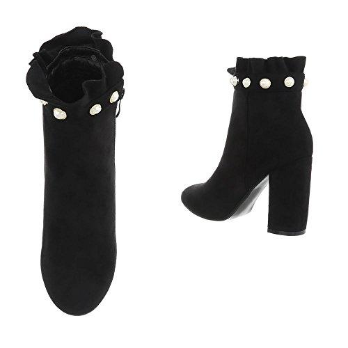 Schuhcity24 Damen Schuhe Stiefeletten High Heels Boots Schwarz