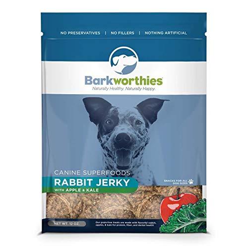 Barkworthies Dog Jerky Rabbit Apple KALE 12oz.
