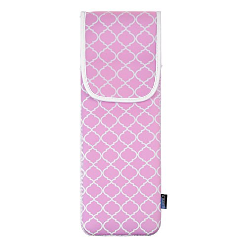 Bluecell Baby Pink Quatrefoil Water-resistant Neoprene Curling Iron Holder Flat Iron Curling Wand Travel Cover Case Bag Pouch 15 x 5 Inches (Baby Pink)