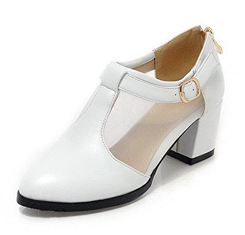 Hæler Glidelås Pu Lukket Kattunge Hvit Spenne Pekte sko Tå Voguezone009 Kvinners Pumper qH1f01w8