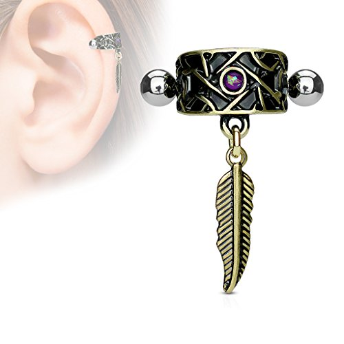 MoBody Tribal Net Cartilage Ear Cuff Earring Surgical Steel Created Opal with Dangle Feather Helix - Helix Dangle