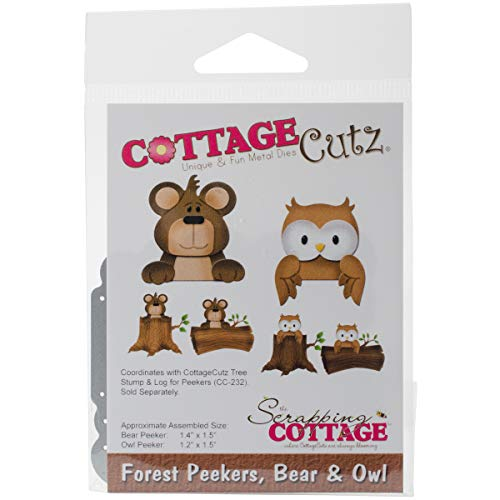 CottageCutz CC-223 Die-Bear and Owl, 1.2 inches to 1.5 inches