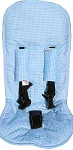 Minene 2085 - Juego de fundas protectoras (para carrito y silla de coche, con almohadilla para cinturones de seguridad), diseño de cuadros, color azul claro y blanco
