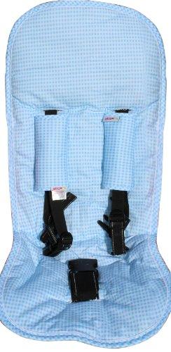 Minene 2085 Sitzschoner Set - für Kinderwagen und Autositz mit Gurtpolster, hellblau karo