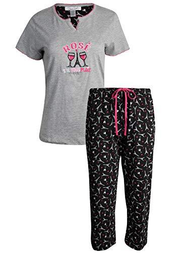 Rene Rofe Women's Sleepwear Capri Pants with Short Sleeve Top Pajama Set, Rose, Size Large'
