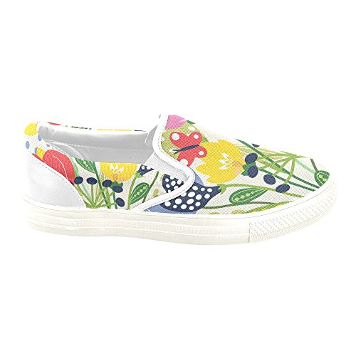 D-story Custom Sneaker Mariposa Y Flor Mujeres Inusuales Slip-on Canvas Zapatos