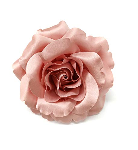 - Satin Rose Fabric Flower Pin Brooch - Hand-made in New York's Garment Center (American Made) (Opaque Pink)