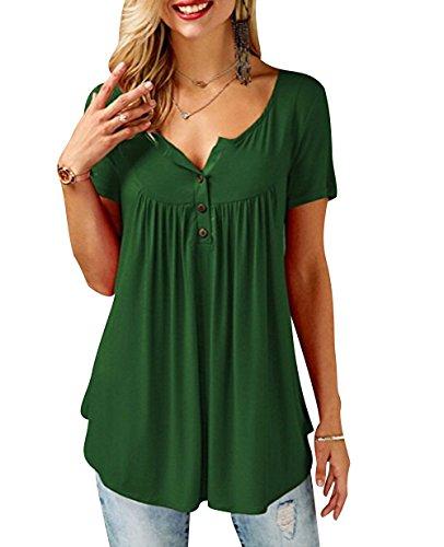 00a980277a7d T Shirt V Ausschnitt Damen Lockere T Shirts Tunika Frauen Oversize Sommer  Longshirt Kurzarm Lässige Tops