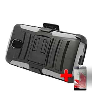 LG Volt LS740 - 2 Piece Siicon Soft Skin Hard Plastic Kickstand Case Cover w. Belt Clip Holster, Black White + SCREEN PROTECTOR