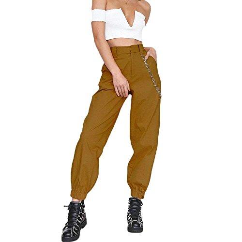 Trousers Eleganti Libero Primaverile Donna Vita Con Tempo Baggy Alta Accogliente Multi Pantaloni Grazioso Pantaloni Autunno Tasca Pantaloni Gelb Moda Militari Lunga Women Pantaloni Con Cerniera Giovane qtwfU