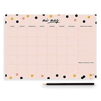 Charuca OM12 - Planificador mensual, A4, color pink confetti