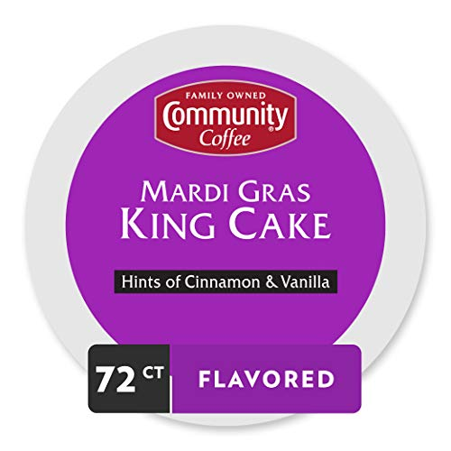 Community Coffee Mardi Gras King Cake Flavored Medium Roast Single Serve 72 Ct Box, Compatible with Keurig 2.0 K Cup Brewers, Medium Full Body Hints of Cinnamon and Vanilla, 100% Arabica Coffee Beans