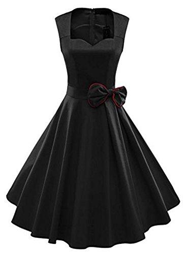 YOGLY Damen Kleider Ärmellos 1950er 1940er Vintage VAusschnitt ...