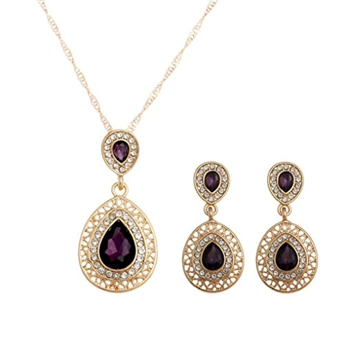 SMYTShop Crystal Necklace Earrings Wedding Jewelry sets (Red Blue Green) (purple) (2 Types Of People On Halloween)