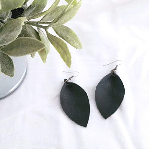 - Black/Leather Leaf Earrings/Pinched Leaf Earrings/Statement Earrings/Bold Style/Boho Earrings/Joanna Gaines Style/Medium Earrings / 2.5 x 1.25