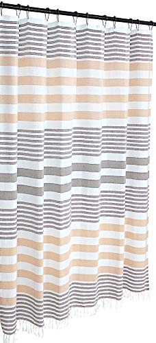 (Brown Coral Peach White Fabric Shower Curtain: Cotton Striped with Decorative Herringbone Weave and Fringe)