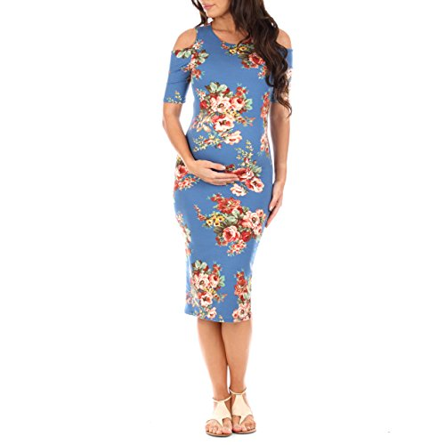 Women's Cold Shoulder Body-Con Dress in Regular and Plus Sizes - Made in USA Denim Blue
