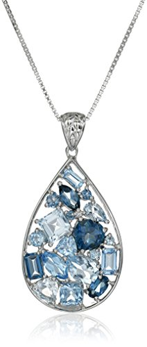 Sterling Silver Pendant Necklace with Mixed Topaz by Amazon Collection