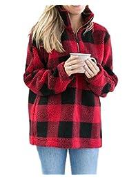 Ytwysj Womens Long Sleeve 1/4 Zipper Casual Loose Buffalo Plaid Sherpa Pullover Sweatshirt Warm Winter Coat Outwear