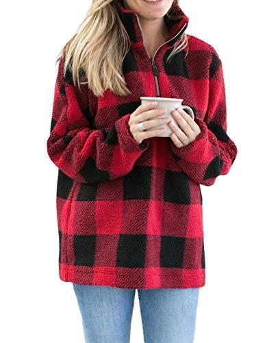 (Womens Long Sleeve 1/4 Zipper Casual Loose Buffalo Plaid Fleece Pullover Sweatshirt Warm Winter Coat Outwear Red)