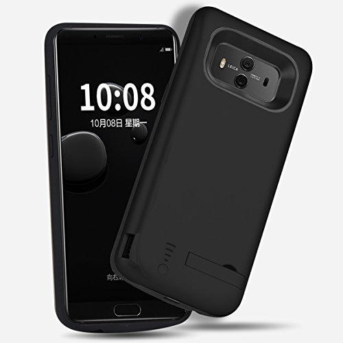 Funda Batería Huawei Mate 10, Moonmini 6000mAh Recargable Externo Portátil Cargador de batería Power Bank Backup Funda de batería Extra integrada ultra Delgada con Soporte (Dorado) Negro