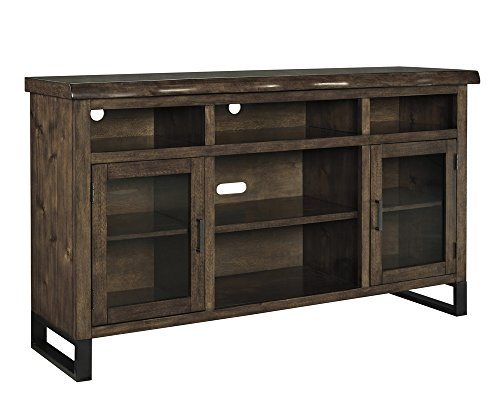 - Signature Design by Ashley W815-48 TV Stand with Open Media Storage, Walnut Brown